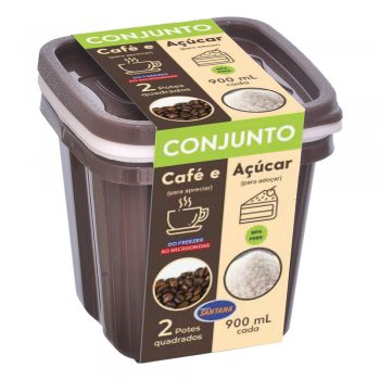Conjunto c/ 2 Potes Quadrados Graduados 900 ml ( Café e Açucar )