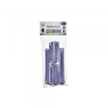 Prendedor de Embalagem Sanclip (conj. c/6 un.: 4 un. Prendedores 5,5 cm + 2 un. Prendedores 10,0 cm)