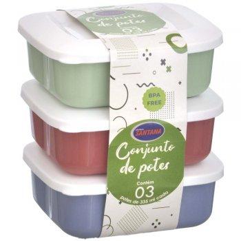 Conjunto c/ 3 Potes Herméticos Quadrados 335 ml
