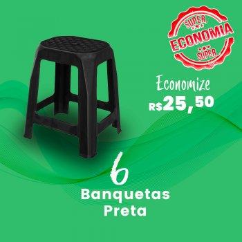 Kit Banqueta Adulta Preta  - 6 peças