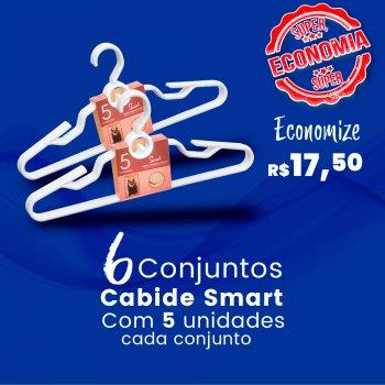 6 Conjuntos c/ 5 Cabides Smart Branco - 30 unidades