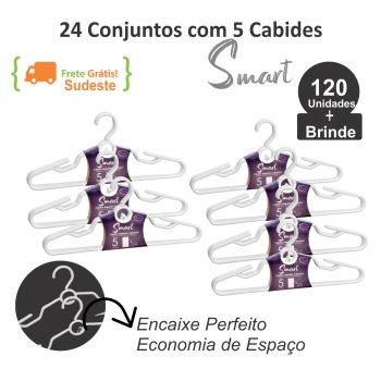 24 Conjuntos c/ 5 Cabides Smart Branco - 120 unidades