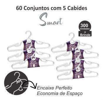 60 Conjuntos c/ 5 Cabides Samrt Barnco- 300 unidades